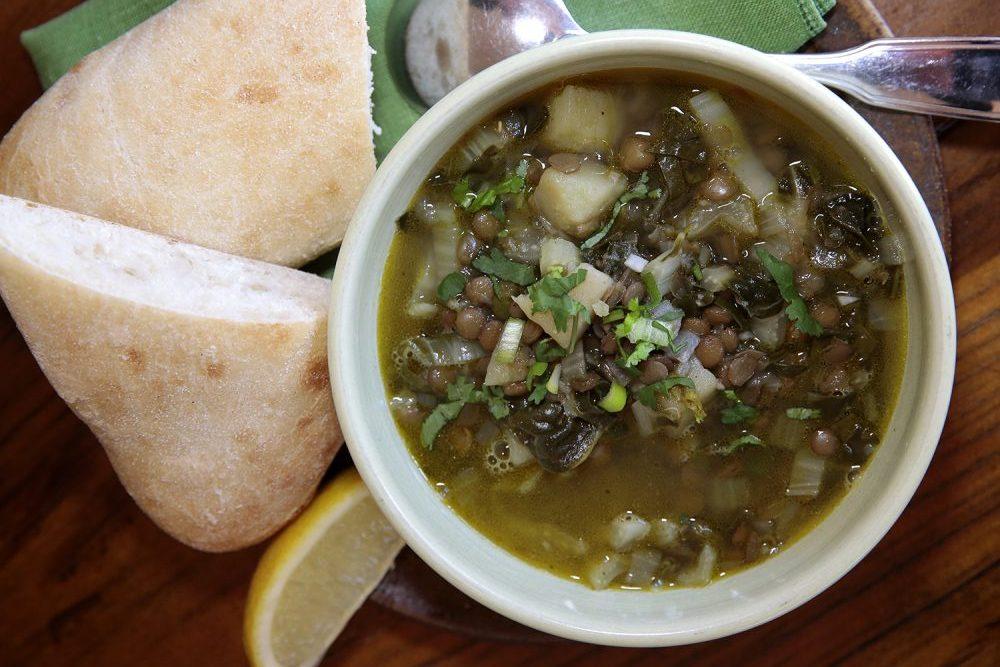 Lentil and silverbeet soup